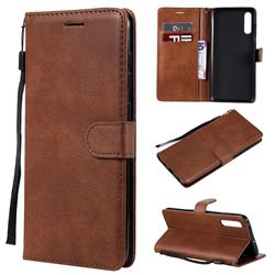 Retro Greek Classic Smooth PU Leather Wallet Phone Case for Samsung Galaxy A70 - Brown