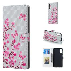 Butterfly Sakura Flower 3D Painted Leather Phone Wallet Case for Samsung Galaxy A70