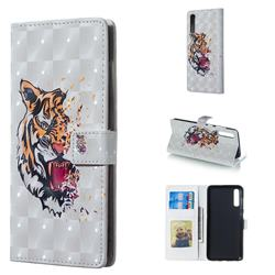 Toothed Tiger 3D Painted Leather Phone Wallet Case for Samsung Galaxy A70