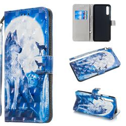 Ice Wolf 3D Painted Leather Wallet Phone Case for Samsung Galaxy A70