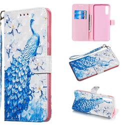 Blue Peacock 3D Painted Leather Wallet Phone Case for Samsung Galaxy A70