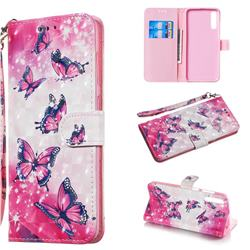 Pink Butterfly 3D Painted Leather Wallet Phone Case for Samsung Galaxy A70