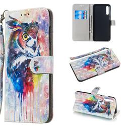 Watercolor Owl 3D Painted Leather Wallet Phone Case for Samsung Galaxy A70