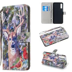 Elk Deer 3D Painted Leather Wallet Phone Case for Samsung Galaxy A70