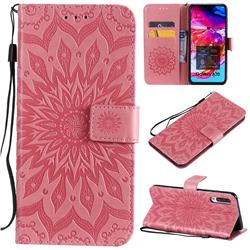 Embossing Sunflower Leather Wallet Case for Samsung Galaxy A70 - Pink