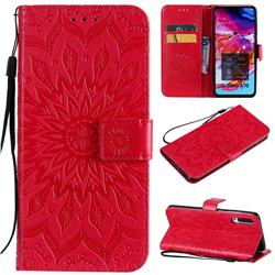 Embossing Sunflower Leather Wallet Case for Samsung Galaxy A70 - Red