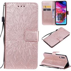 Embossing Sunflower Leather Wallet Case for Samsung Galaxy A70 - Rose Gold