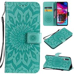 Embossing Sunflower Leather Wallet Case for Samsung Galaxy A70 - Green