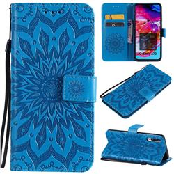 Embossing Sunflower Leather Wallet Case for Samsung Galaxy A70 - Blue