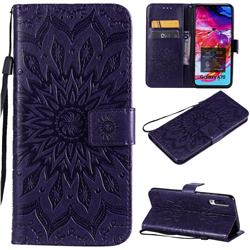 Embossing Sunflower Leather Wallet Case for Samsung Galaxy A70 - Purple