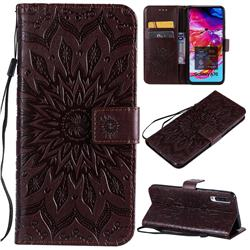 Embossing Sunflower Leather Wallet Case for Samsung Galaxy A70 - Brown