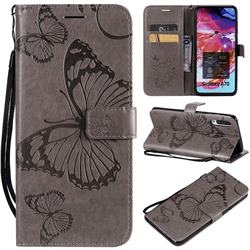 Embossing 3D Butterfly Leather Wallet Case for Samsung Galaxy A70 - Gray