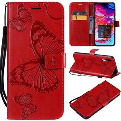 Embossing 3D Butterfly Leather Wallet Case for Samsung Galaxy A70 - Red