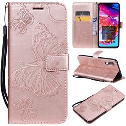 Embossing 3D Butterfly Leather Wallet Case for Samsung Galaxy A70 - Rose Gold