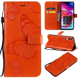 Embossing 3D Butterfly Leather Wallet Case for Samsung Galaxy A70 - Orange