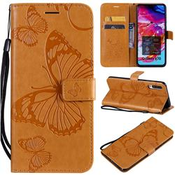 Embossing 3D Butterfly Leather Wallet Case for Samsung Galaxy A70 - Yellow