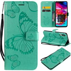 Embossing 3D Butterfly Leather Wallet Case for Samsung Galaxy A70 - Green