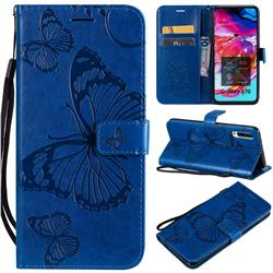 Embossing 3D Butterfly Leather Wallet Case for Samsung Galaxy A70 - Blue