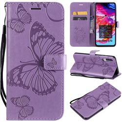 Embossing 3D Butterfly Leather Wallet Case for Samsung Galaxy A70 - Purple
