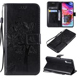 Embossing Butterfly Tree Leather Wallet Case for Samsung Galaxy A70 - Black