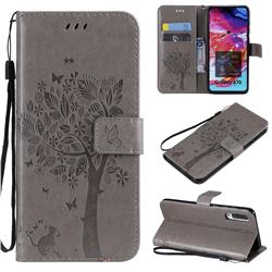 Embossing Butterfly Tree Leather Wallet Case for Samsung Galaxy A70 - Grey