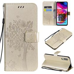 Embossing Butterfly Tree Leather Wallet Case for Samsung Galaxy A70 - Champagne