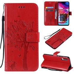 Embossing Butterfly Tree Leather Wallet Case for Samsung Galaxy A70 - Red