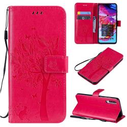 Embossing Butterfly Tree Leather Wallet Case for Samsung Galaxy A70 - Rose