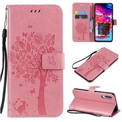 Embossing Butterfly Tree Leather Wallet Case for Samsung Galaxy A70 - Pink