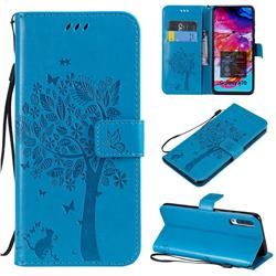Embossing Butterfly Tree Leather Wallet Case for Samsung Galaxy A70 - Blue