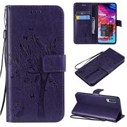 Embossing Butterfly Tree Leather Wallet Case for Samsung Galaxy A70 - Purple