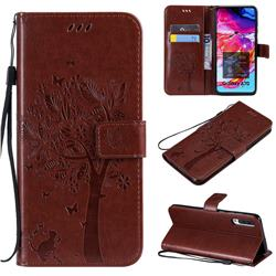 Embossing Butterfly Tree Leather Wallet Case for Samsung Galaxy A70 - Coffee