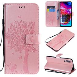 Embossing Butterfly Tree Leather Wallet Case for Samsung Galaxy A70 - Rose Pink