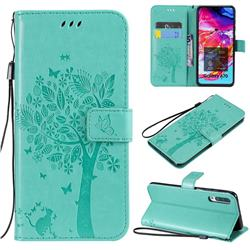 Embossing Butterfly Tree Leather Wallet Case for Samsung Galaxy A70 - Cyan