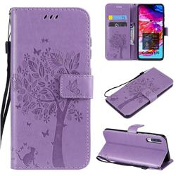 Embossing Butterfly Tree Leather Wallet Case for Samsung Galaxy A70 - Violet