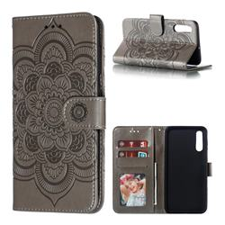 Intricate Embossing Datura Solar Leather Wallet Case for Samsung Galaxy A70 - Gray
