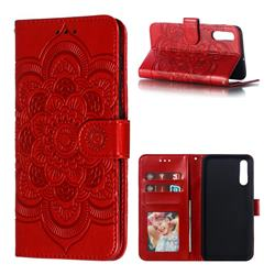 Intricate Embossing Datura Solar Leather Wallet Case for Samsung Galaxy A70 - Red
