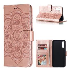 Intricate Embossing Datura Solar Leather Wallet Case for Samsung Galaxy A70 - Rose Gold