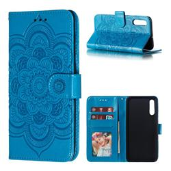 Intricate Embossing Datura Solar Leather Wallet Case for Samsung Galaxy A70 - Blue
