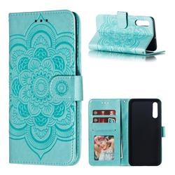 Intricate Embossing Datura Solar Leather Wallet Case for Samsung Galaxy A70 - Green