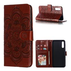 Intricate Embossing Datura Solar Leather Wallet Case for Samsung Galaxy A70 - Brown