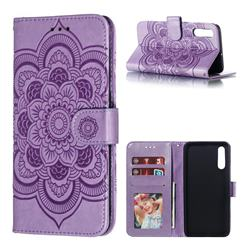 Intricate Embossing Datura Solar Leather Wallet Case for Samsung Galaxy A70 - Purple