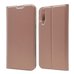 Ultra Slim Card Magnetic Automatic Suction Leather Wallet Case for Samsung Galaxy A70 - Rose Gold