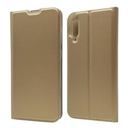 Ultra Slim Card Magnetic Automatic Suction Leather Wallet Case for Samsung Galaxy A70 - Champagne