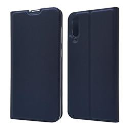 Ultra Slim Card Magnetic Automatic Suction Leather Wallet Case for Samsung Galaxy A70 - Royal Blue