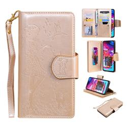 Embossing Cat Girl 9 Card Leather Wallet Case for Samsung Galaxy A70 - Gold