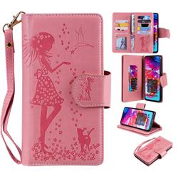 Embossing Cat Girl 9 Card Leather Wallet Case for Samsung Galaxy A70 - Pink