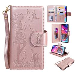 Embossing Cat Girl 9 Card Leather Wallet Case for Samsung Galaxy A70 - Rose Gold