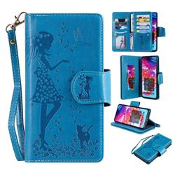 Embossing Cat Girl 9 Card Leather Wallet Case for Samsung Galaxy A70 - Blue