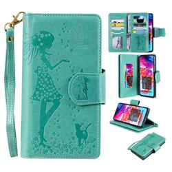 Embossing Cat Girl 9 Card Leather Wallet Case for Samsung Galaxy A70 - Green